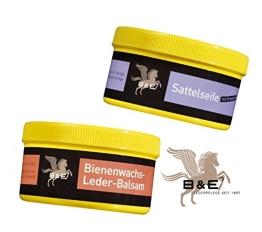 Lederreinigung mit B&E Sattelseife mit Schwamm(250ml) und Bienenwachs Lederpflege Balsam(250ml) - 1