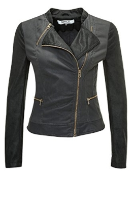Only Damen Kunstlederjacke Duty Cropped PU Jacket (M, Raven) - 1