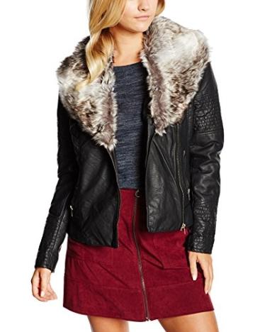 ONLY Damen Lederjacke Jacke Onllawly Pu Mix Jacket Otw, Gr. 38, Schwarz - 1