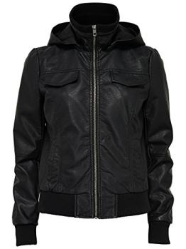 Only Jacke Lederjacke Übergangsjacke Leder Imitat Damen mit Kapuze LUCKY Hooded PU Jacket Schwarz Gr. 38 - 1