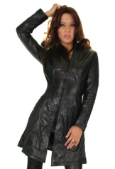 Damen Lederjacke in schwarz, figurbetonter Schnitt mit Zipper Gr. L/14 Modell S90 - 1