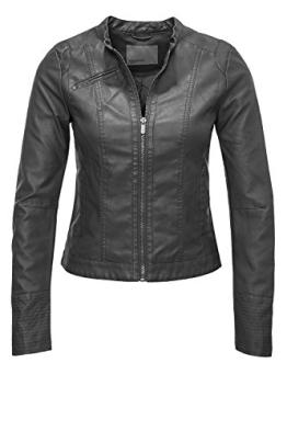 Vero Moda Damen Kunstlederjacke Student Short PU Jacket (S, Asphalt) - 1