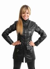 Damen lange Ledermantel Jacke für Damen 1310 Schwarz (12) - 1