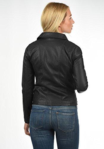 ONLY Puya Damen Lederjacke Bikerjacke Kunstleder Mit Bikerkragen, Größe:38, Farbe:Black - 4