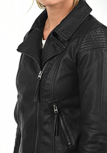 ONLY Puya Damen Lederjacke Bikerjacke Kunstleder Mit Bikerkragen, Größe:38, Farbe:Black - 5